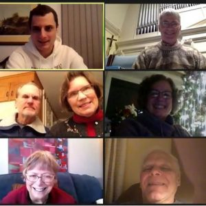January 3, 2021 Zoom Epiphany Social that featured a video organ crawl of the Longwood Gardens (Kennett Square, Pennsylvania) Aeolian pipe organ - screen shot of participants